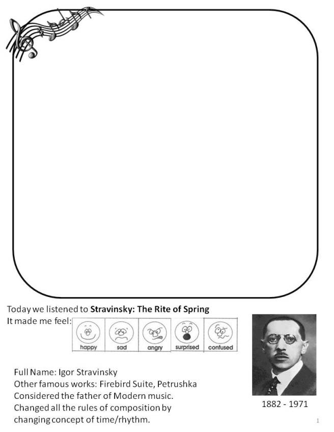 Stravinsky: Rite of Spring Drawing Page