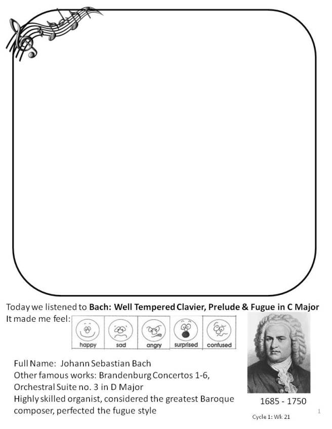 Bach Well Tempered Clavier in C Major Coloring Page